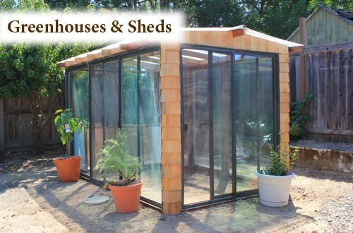 Greenhouse constructed from reclaimed sliding glass doors