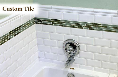 Tub shower with custom white & green tile